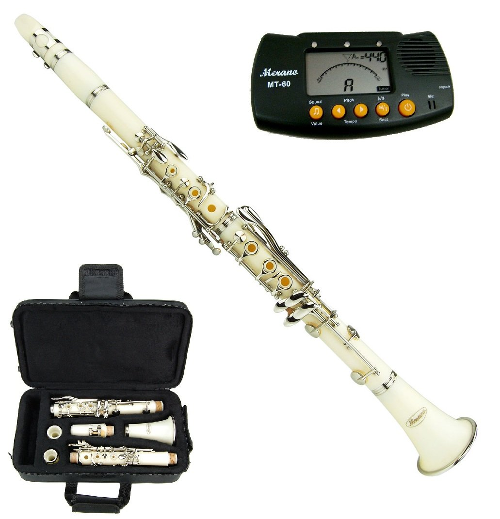 Merano B Flat White / Silver Clarinet with Case+Mouth Piece+Reed and Cap; Screwdriver; Soft Cleaning Cloth; Cork Grease; A Pair of Gloves+Free Metro Tuner by Merano