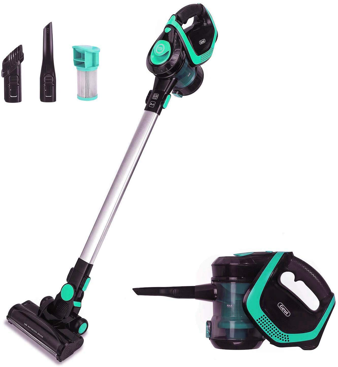 2 in 1 Upright Stick and Handhold Powerful Suction Vacuum Cleaner with Cordless Design and HEPA Filter, Lightweight and Rechargeable Wall Mounted Design Green Geen-Black