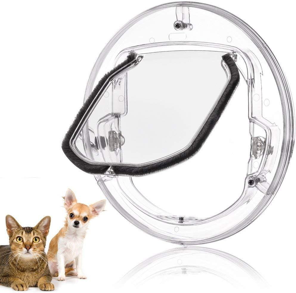 Fdit Tapa con Tapa para Gatos Mascotas Pequeñas Perros Gatos para Puerta con 4 Posibilidades Tapa redonda para Cerrar con Puerta Transparente o Blanca