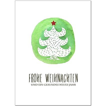 15 X Moderne Weihnachtskarten Mit Umschlag Motiv Tanne