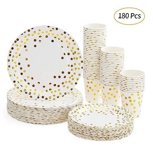 esonmus Platos Desechables y Vasos Cumpleaños, Juego de 180 Piezas Vasos de Carton y Plates con Patrón Dorado - 60 Vasos de Papel 270ml - 60 Platos de ...