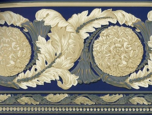 Green Leaf Scroll Wallpaper (Wallpaper Border Architectural Acanthus Leaf Medallion Scroll Blue Green Tan Gold)