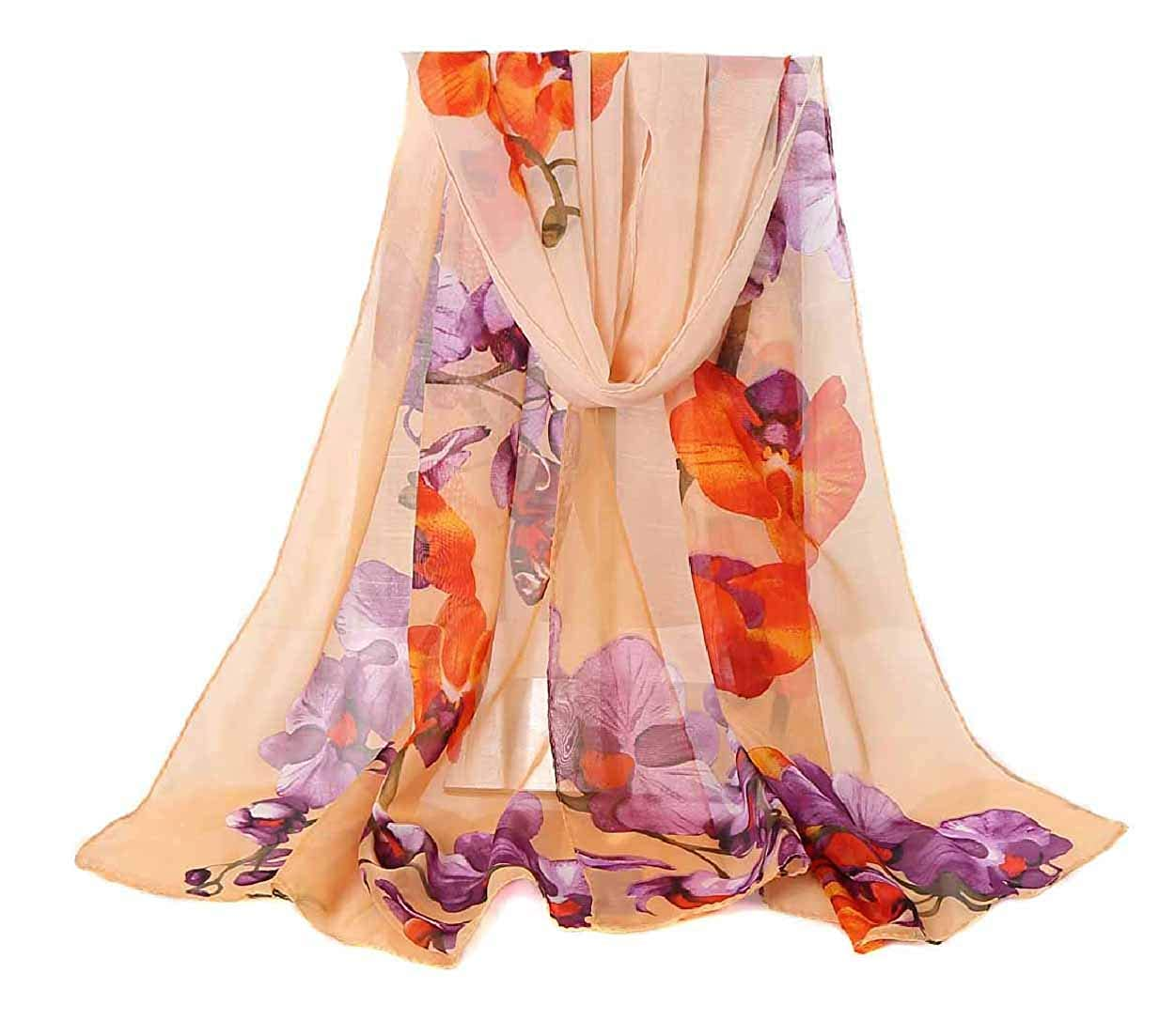 Womens Chiffon Scarf Lightweight Fashion Sheer Scarfs Shawl Wrap Scarves