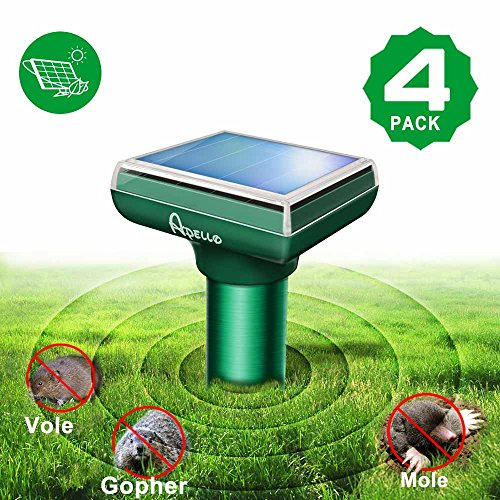 Apello 4 Pack Mole Repellent Solar Mole Repeller Rodent Chipmunk Repellent Gopher Repellent Ultrasonic Get Rid of Moles in Yard No Killing Like Mole Trap Mole Killer Mole Poison Gopher Trap (Repeller Rodent Electronic Pestchaser)