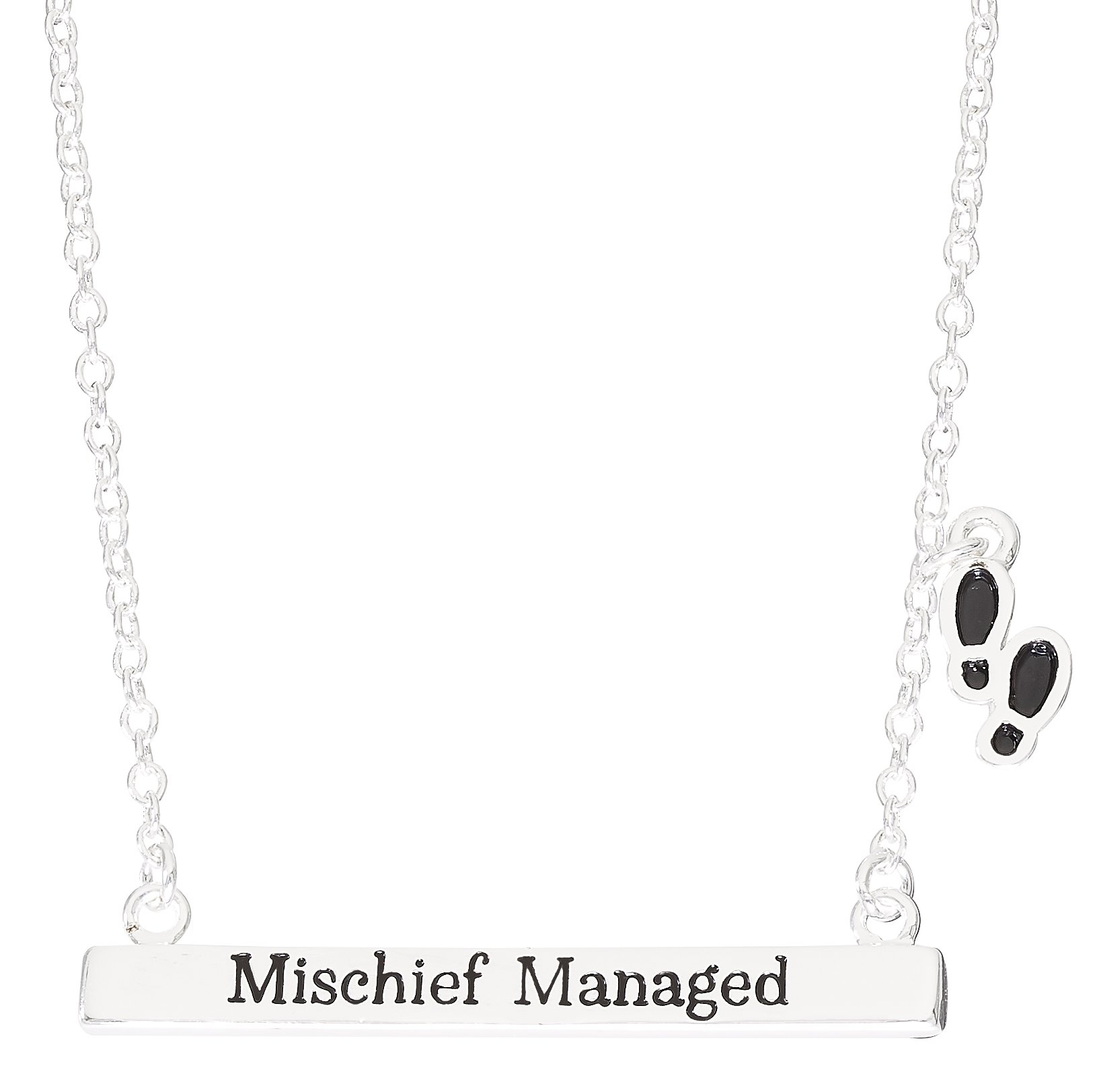 Harry Potter Silver Plated Mischief Managed Bar Necklace, 18''