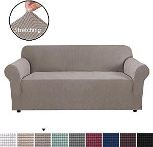 H.VERSAILTEX Modern Spandex 1 Piece Sofa Cover with Elastic Bottom Lycra Jacquard High Stretch Sofa Slipcover Stylish Furniture Cover/Protector Machine Washable - Sofa - Taupe
