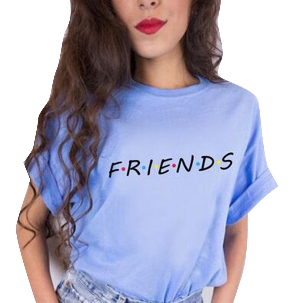 9be41dcdd96065 Bonboho Damen Shirts Sommer Süß Partnerlook Freund Shirt Frauen Oberteile  Tops T-Shirt mit Friends ...
