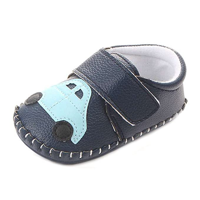 Lidiano Baby Non Slip Rubber Sole Cartoon Walking Slippers Crib Shoes Infant/Toddler (12-18 Months, Blue Car)