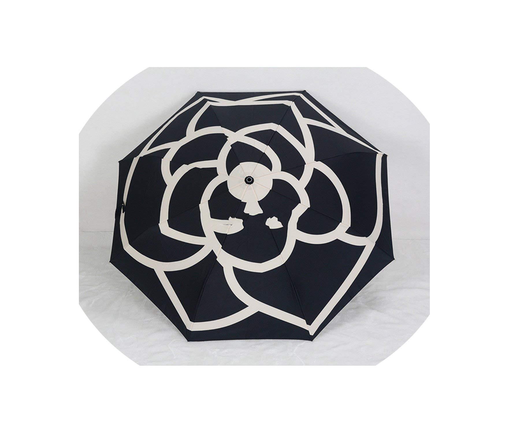Folding Umbrella Classic Pattern Camellia Flower Logo Umbrella For Women 3 Fold Umbrella With Box And Bag Rain Umbrella,B