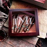 Personalized Monogrammed Valentines Gift Wood Cigar Humidor with Glass Topp Perfect Groomsmen, Best Man and Groom Wedding Gift