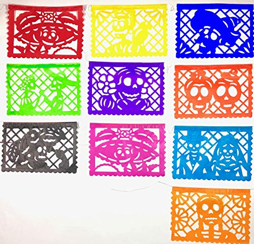 2 Pack Till Death do Us Part Dia de Muertos decoration Small Size. Tissue Paper Mexican Papel Picado banner. Los Novios