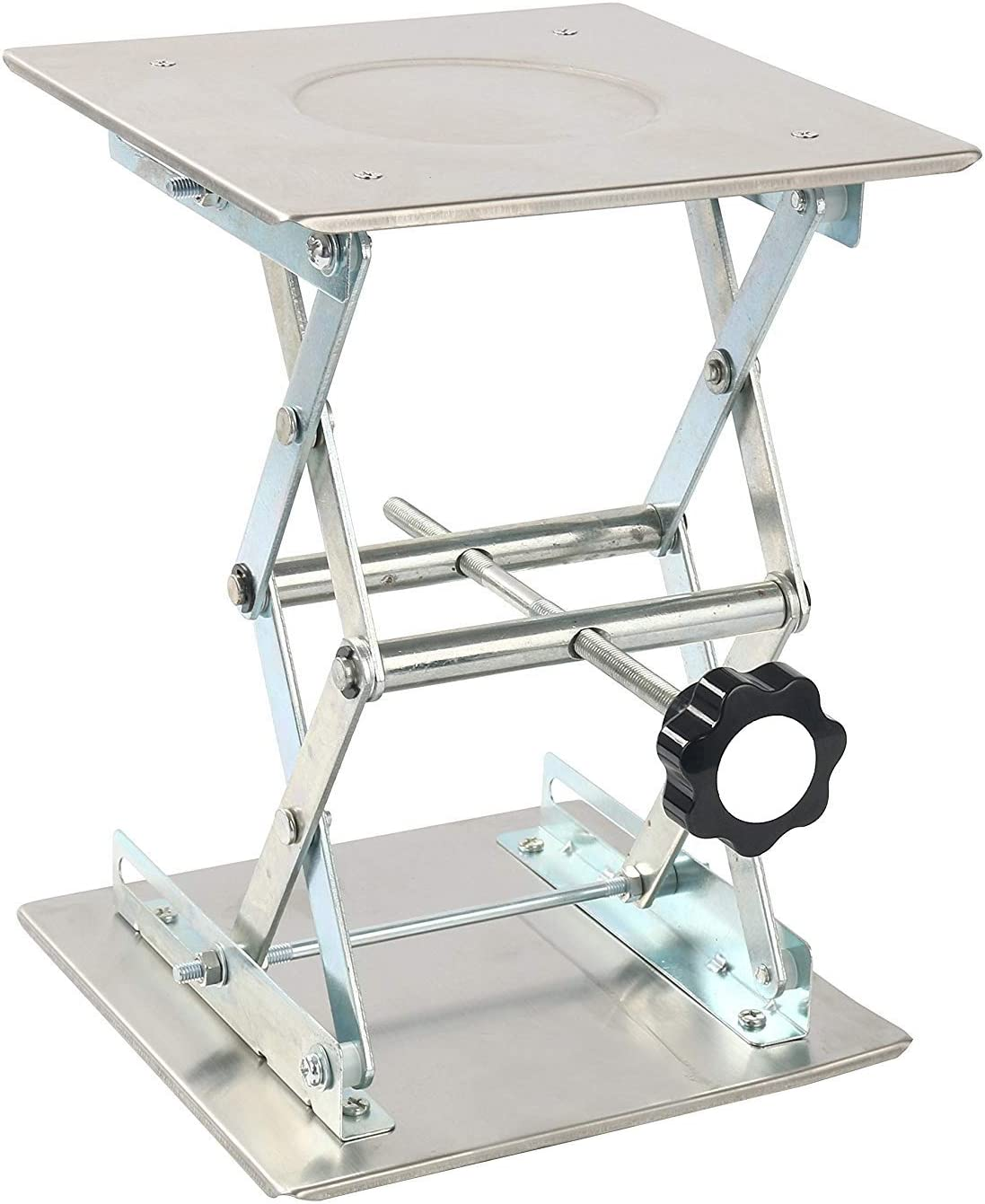 FamYun 4 x 4 100mm Stainless Steel Lab Jack Scissor Stand Platform LAB Lift Laboratory Jiffy Jack Rack Lifter
