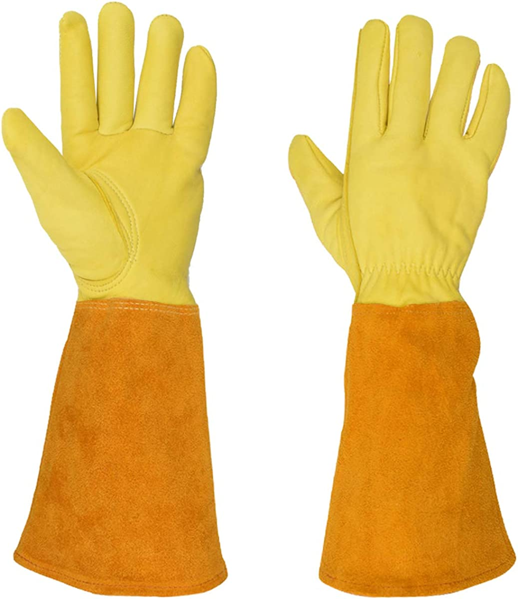 Gardening Gloves for Women/Men, Long Sleeve Leather Garden Gloves Puncture Proof for Pruning Cactus Rose Weeding