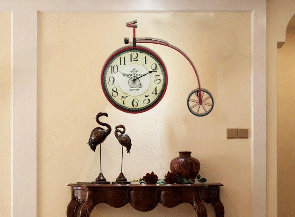 TXXM® アメリカのレトロ壁時計地中海スタイルの装飾的な壁の装飾のリビングルームファッションクリエイティブウォールの装飾の自転車の装飾の背景 (色 : E) B07DYKW4P1 E E