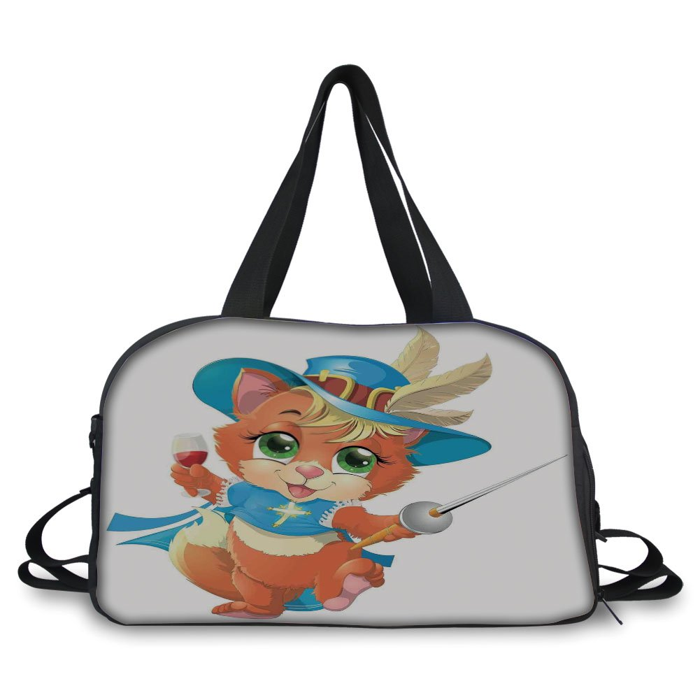iPrint Travel handbag,Cat,Kitten Musketeer with a Sword and a Glass of Wine Knight Cat Fun Cartoon Art,Blue Beige Orange ,Personalized