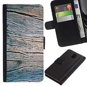 SAMSUNG Galaxy Note 3 III / N9000 / N9005 Modelo colorido cuero carpeta tirón caso cubierta piel Holster Funda protección - Grain Blue Summer Pier Texture