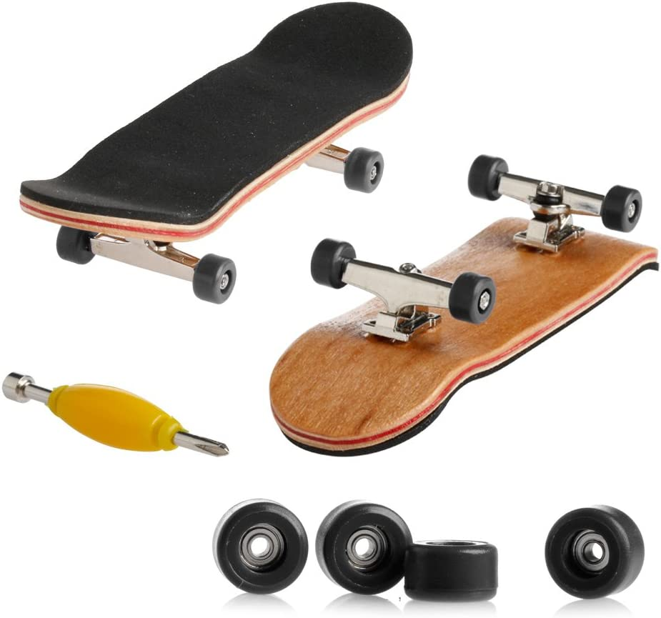 Maple Wood Finger Skate Board Black Foam Tape Complete Wooden Fingerboard