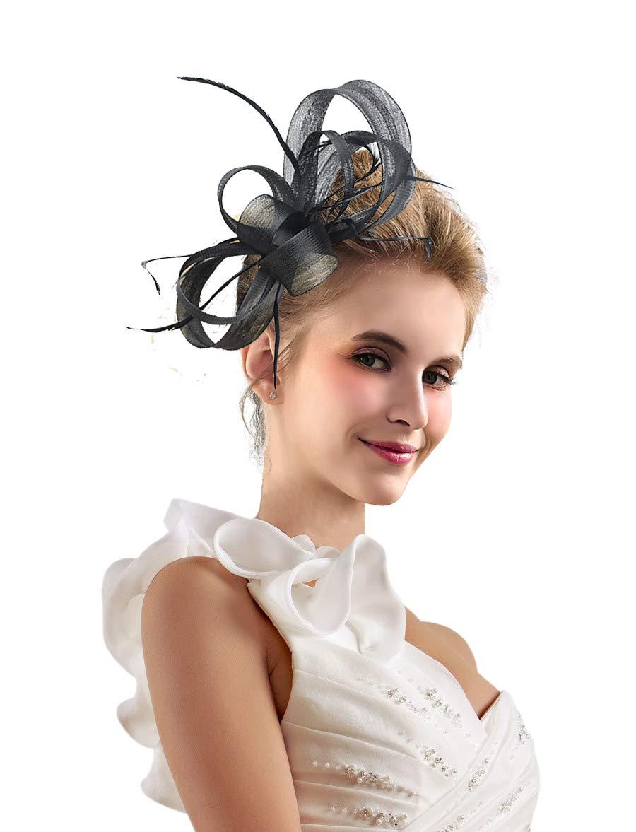 Kentucky Derby Fascinators for Women Tea Party Hat Cocktail Sinamay Headpiece Flower Mesh Feathers Headband Black-AB