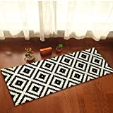 Black and White Mosaic Kitchen Floor Mat Rug Plush Non Slip Bedroom Doormat Home Decor