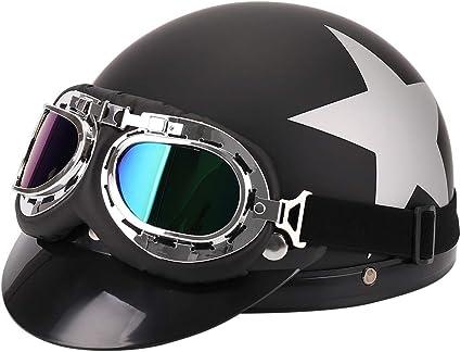 FuriAuto casco con gafas de motorista motocicleta crucero de casco de moto viseras proteccion UV
