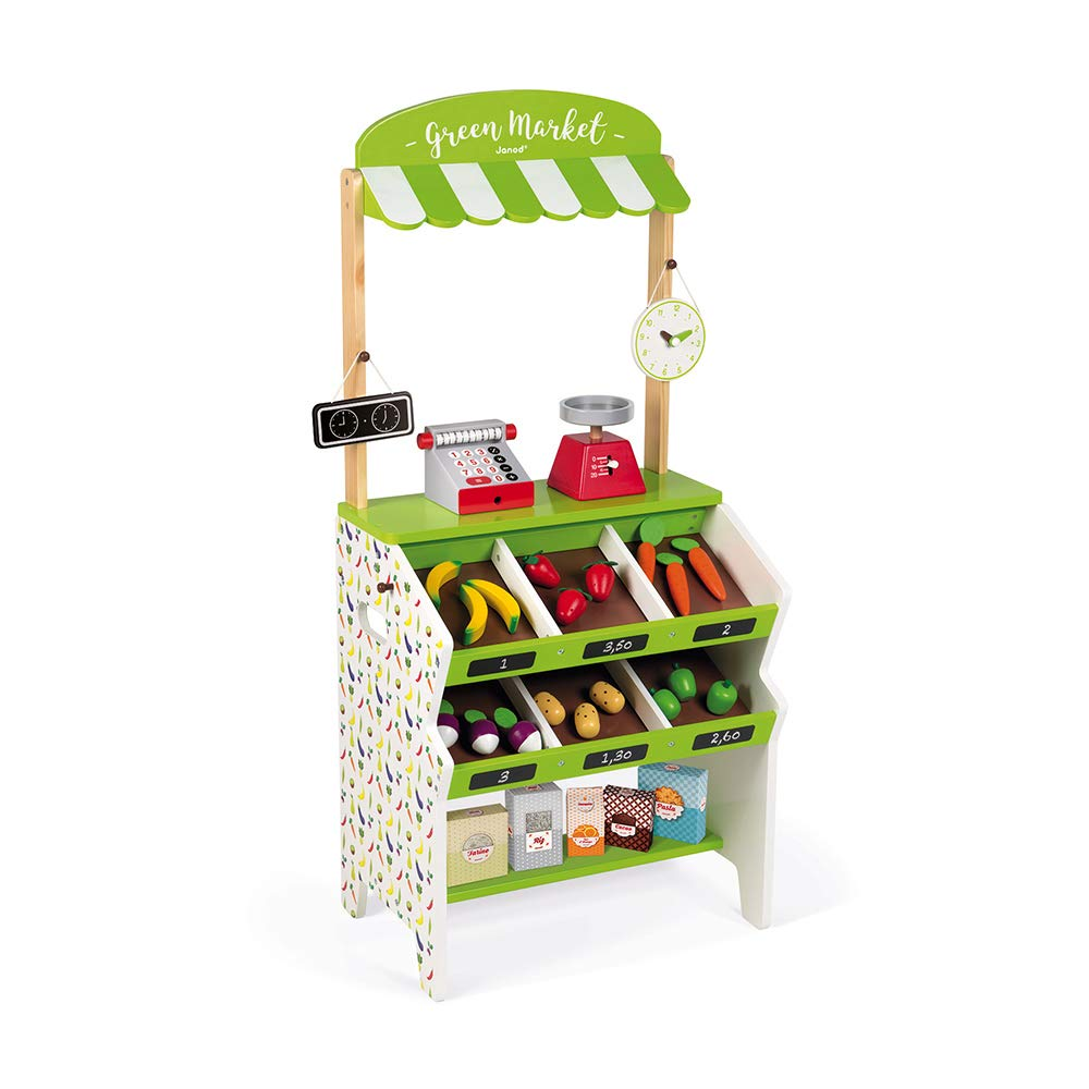 Janod Green Market Wooden Grocery Stand with 32 Accessories Including Cash Register, Produce Scale, and Blackboard for Imaginative Play Ages 3-8