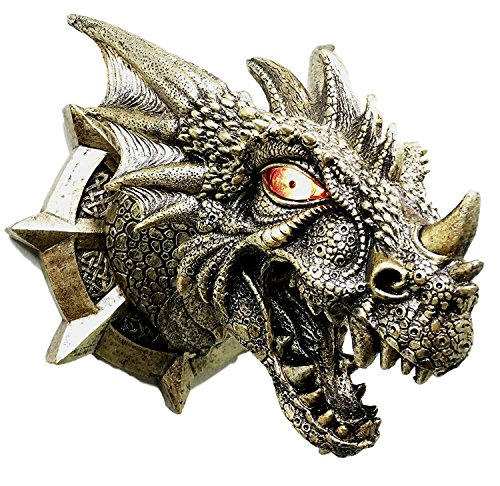 Price comparison product image Medieval Castle Dungeon Prisoner Golden Dragon Wall Plaque With LED Illuminated Eyes Sculpture Welcome Plaque Home Decor
