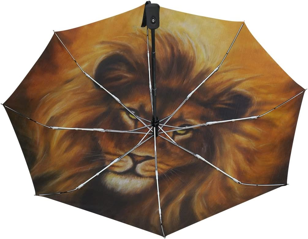 GIOVANIOR Lion Portrait With Golden Mane Oil Painting Umbrella Double Sided Canopy Auto Open Close Foldable Travel Rain Umbrellas