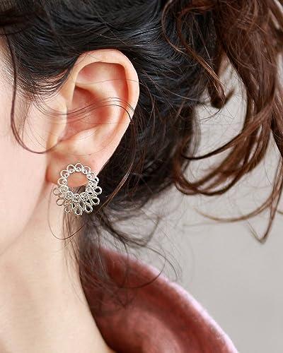 1234d3a13 Amazon.com: Sterling Silver Ear jacket earring , Handmade Designer Mandala  Jacket + Stud Earrings,: Handmade