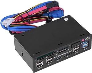 fosa Internal Card Reader, 5.25inch Media Dashboard Front Panel Audio, USB3.0/2.0 HUB eSATA SATA Multi-In-1 Card Reader(M2/TF/SD/MMC/MS/CF)
