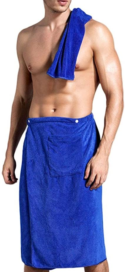 Swimming Travel Sports Beach Mens Wearable Microfiber Bath Towel Wrap Bathroom