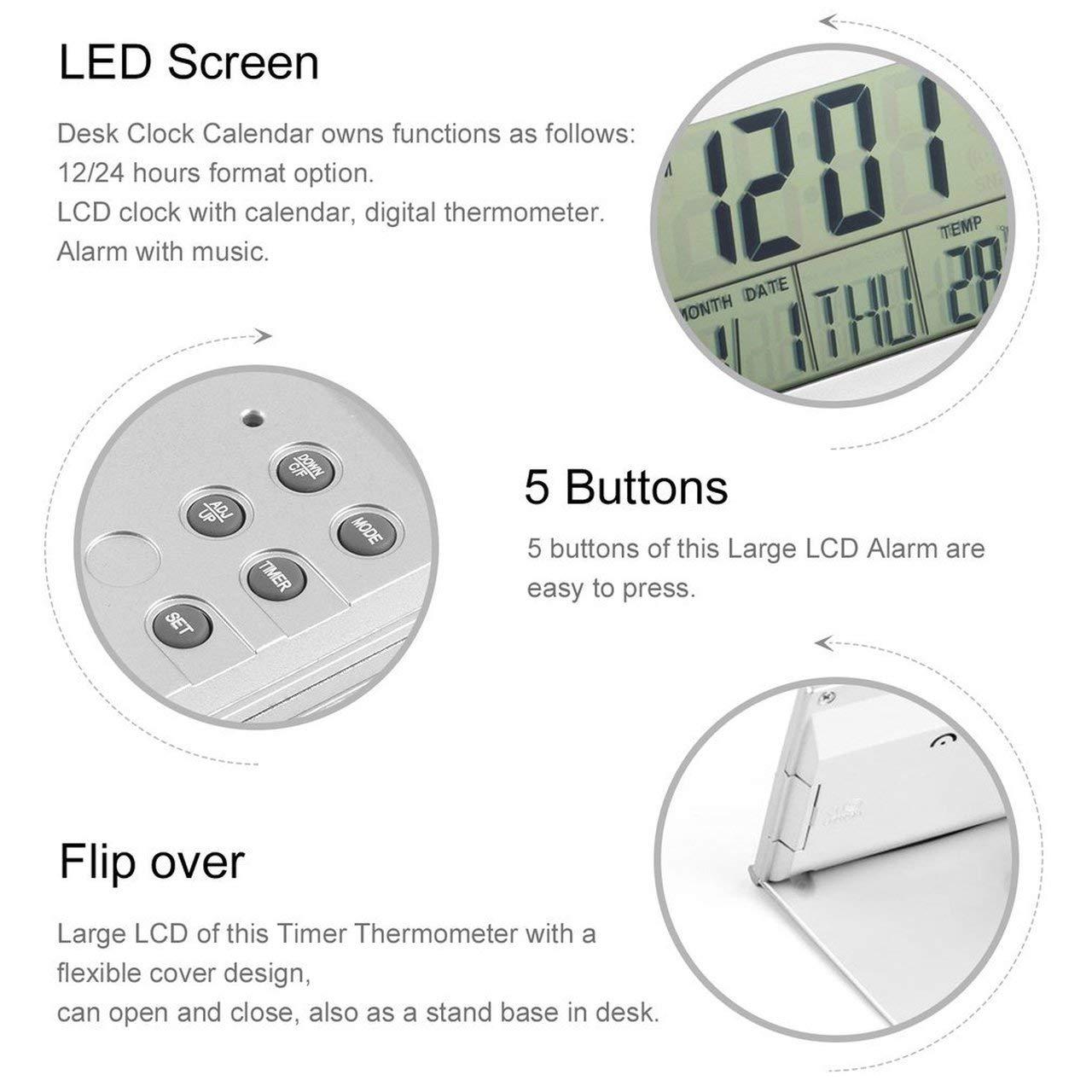 fITtprintse Design Moderno Pieghevole Scrivania da Tavolo Display LCD Digitale Termometro Calendario Sveglia Orologio Flessibile Data Orologio Orologio da Tavolo