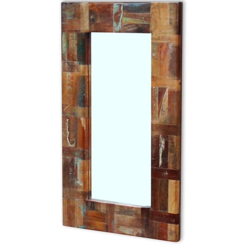 vidaXL Espejo de Madera Reciclada 80x50 cm Multicolor Baño ...