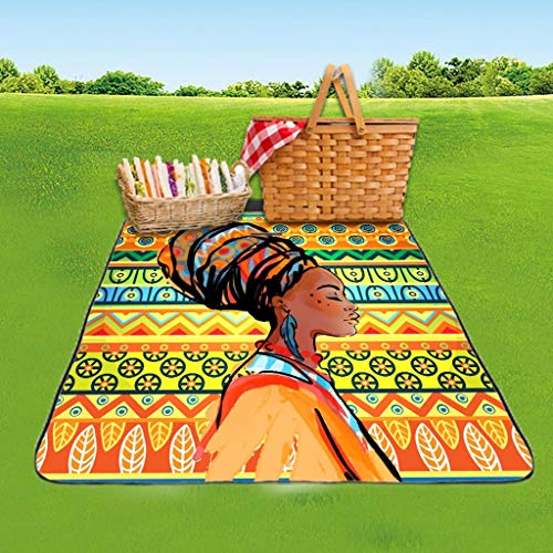 Outdoor Picnic Mat Waterproof Rectangle Foldable Picnic Blanket Egyptian Women Pattern Painting Outdoor Camping Beach Blanket Mat for Hiking/Travel/BBQ -