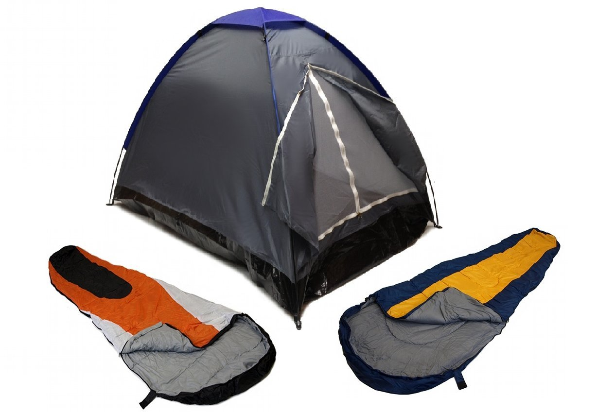 GRAY DOME CAMPING TENT 2 MAN 2 SLEEPING BAGS 20 COMBO CAMPING HIKING PACK