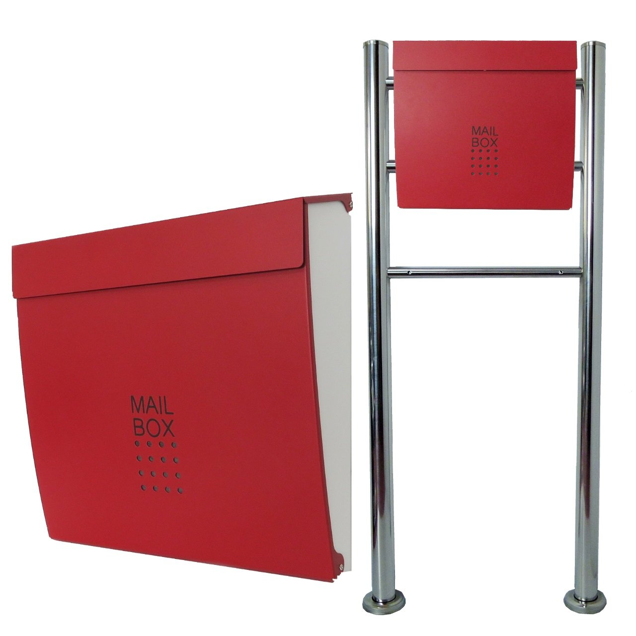郵便ポスト郵便受けおしゃれ北欧風飾りバー付スタンド型マグネット付バイカラーレッド赤色ポスト新pm06f-pm173 B076GW7MK1 17880