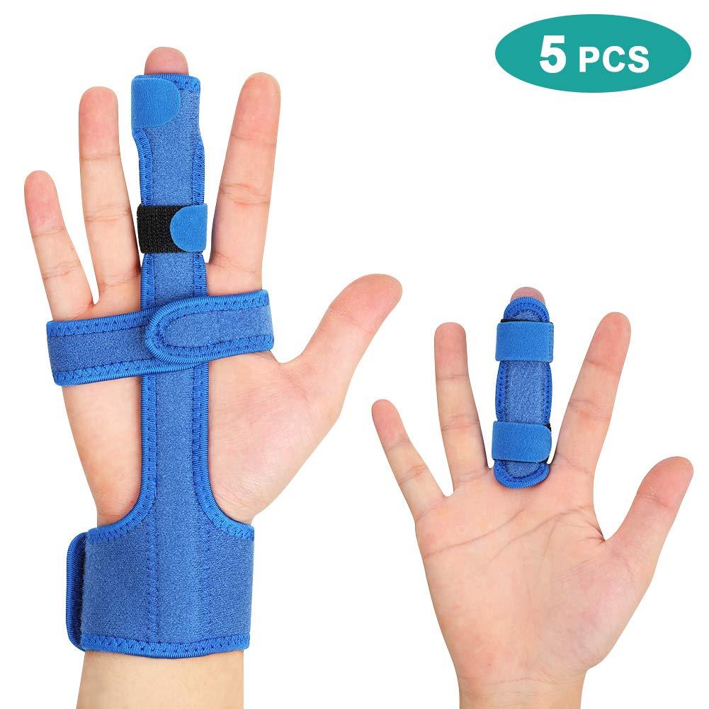 5 Finger Splint per dita rotte, Dito supporto Artrite per maglio, piccolo/mignolo, cinghie di avvolgimento a mano regolabili per raddrizzare Tenosynovitis curvo