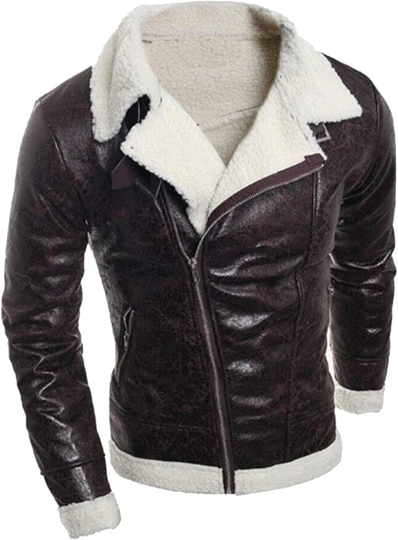 Keaac Mens Full Zipper Thick Sherpa Lined Faux Leather Jacket Coat