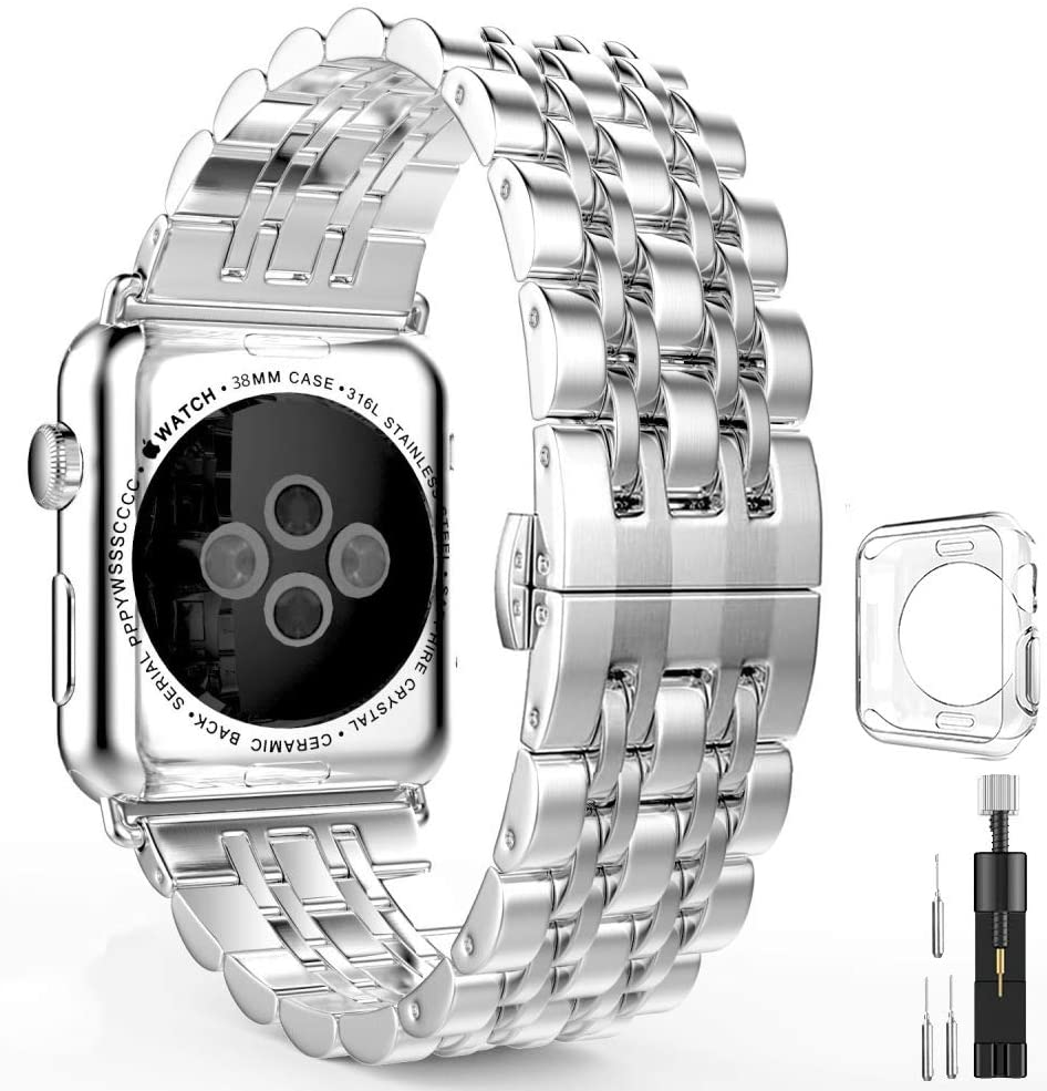 Stainless Steel Metal Bands Compatible with Apple Watch Band 42mm 44mm, Sliver Replacement Strap with Adapter+Case Cover Compatible with iWatch Series 6 5 4 3 2 1 SE Sport