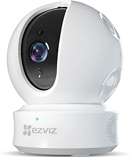 EZVIZ Pan Tilt Zoom Camera 1080p IP Dome Security Surveillance System Night Vision Auto Motion Tracking Pet Baby Monitor Two Way Audio Compatible with Alexa WiFi 2.4G Only WH CTQ6C
