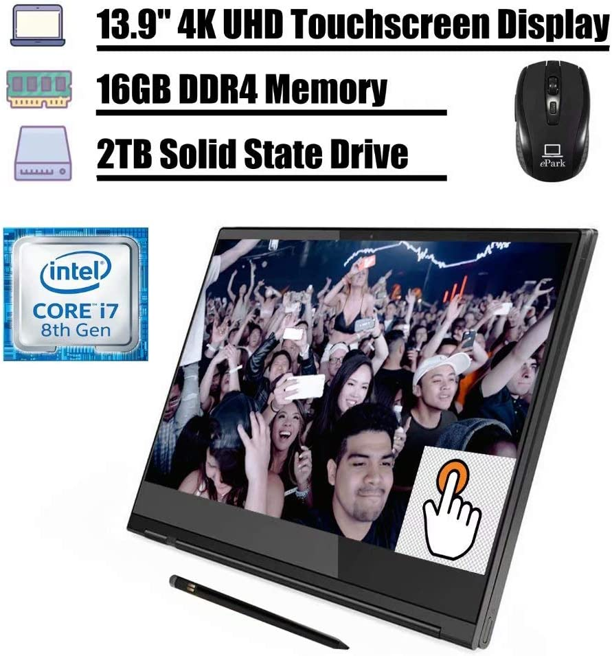 "Latest 2020 Lenovo Yoga c930 2 in 1 Laptop, 13.9"" 4K UHD Touchscreen Display, 8th Gen Intel Quad-Core i7-8550U 16GB DDR4 2TB SSD, FP Thunderbolt Backlit KB Active Pen Win 10 + ePark Wireless Mouse"
