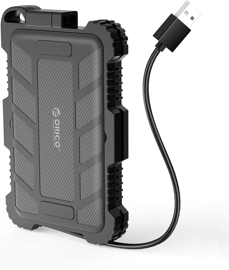 ORICO 2.5inch USB3.0 Type A Rugged Waterproof & Shockproof External Hard Drive Enclosure with Cable and Hook for 7/9.5mm SATA HDD SSD Enclosure - Black