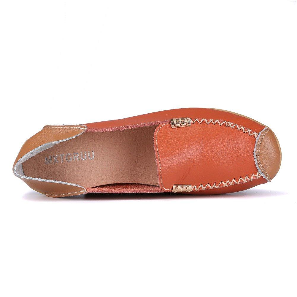 MXTGRUU Women's Leather Casual Slip-ONS Shoes B07D3N687M 8 B(M) US Orange