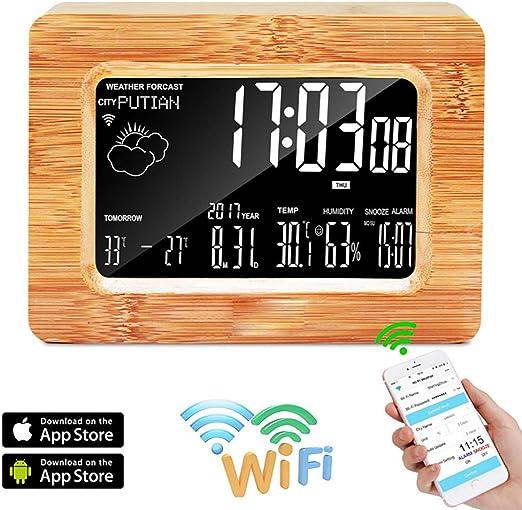 BALALALA Reloj Digital LCD, estación meteorológica WiFi Reloj de ...