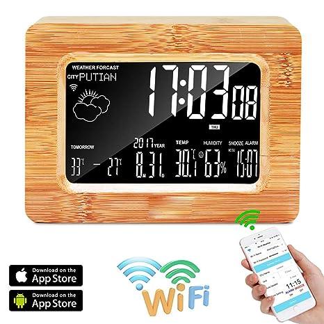 SPEUTO Reloj Digital LCD, WiFi Estación meteorológica Reloj de Mesa con Alarma de Madera LCD