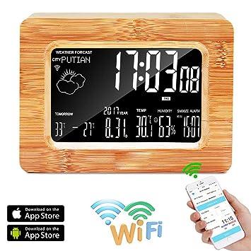 BESTUNE Estación meteorológica inalámbrica, WiFi Digital LCD Reloj Despertador de Madera con Estación meteorológica inalámbrica Estación de pronóstico de ...