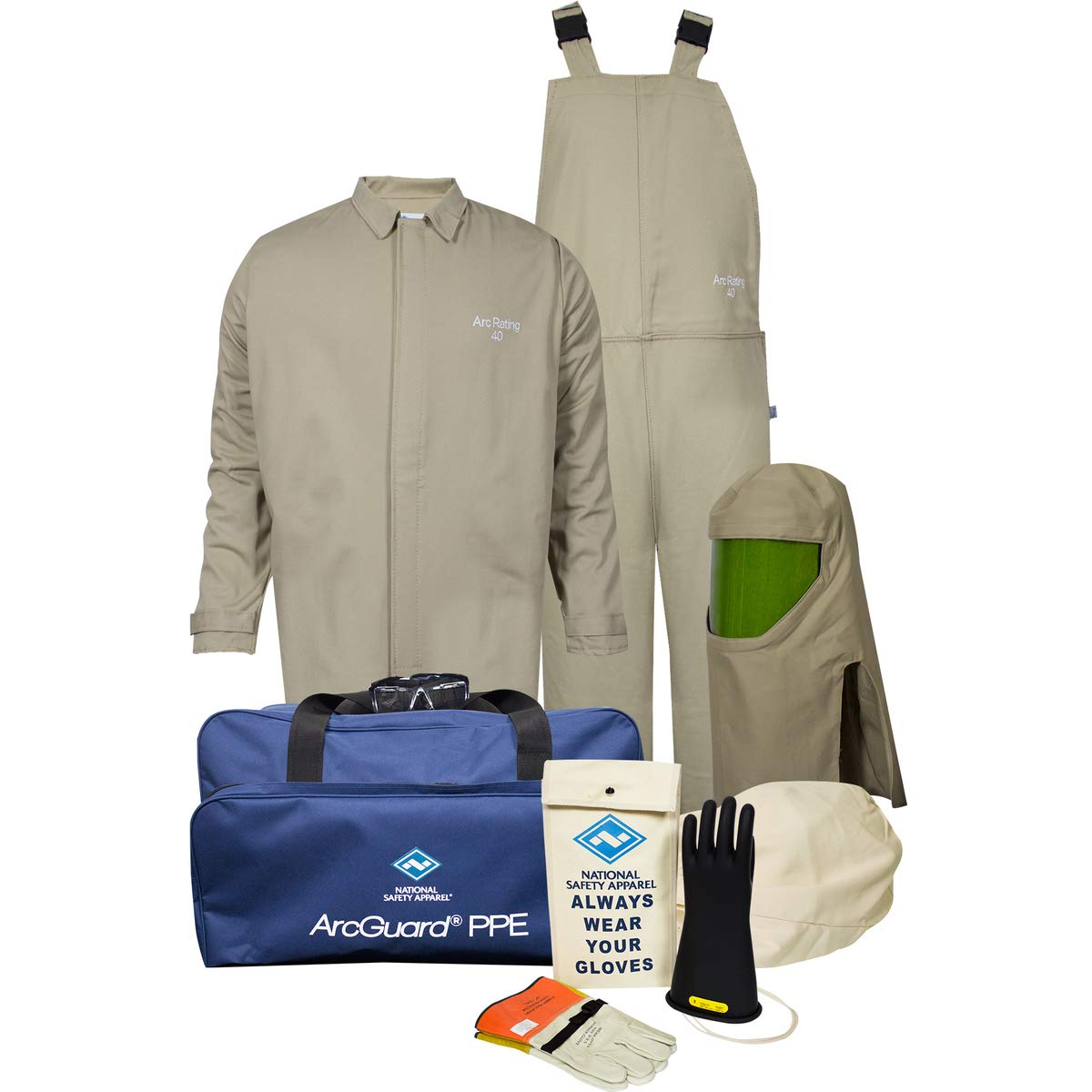 National Safety Apparel X-Large Tan Cotton Nylon 40 cal/cm Flame Resistant Arc Flash Kit