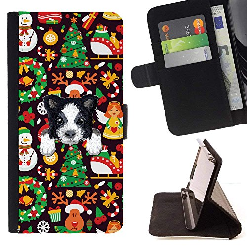 [ BORDER COLLIE ] Embroidered Cute Dog Puppy Leather Wallet Case FOR Sony Xperia XA1 [ Christmas Angels Pattern ]
