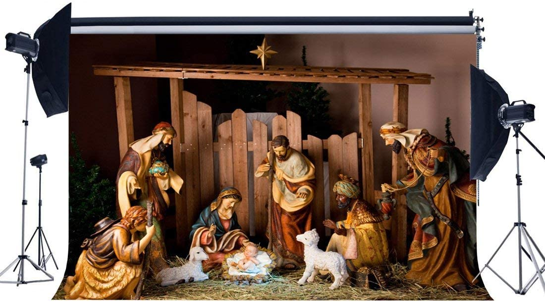 SZZWY Jesus Birth Backdrop 10X8FT Vinyl Old Barn Shepherd Backdrops Virgin Mary Haystack Merry Christmas Photography Background for Family Together Greeting Happy Year Photo Studio Props YX881