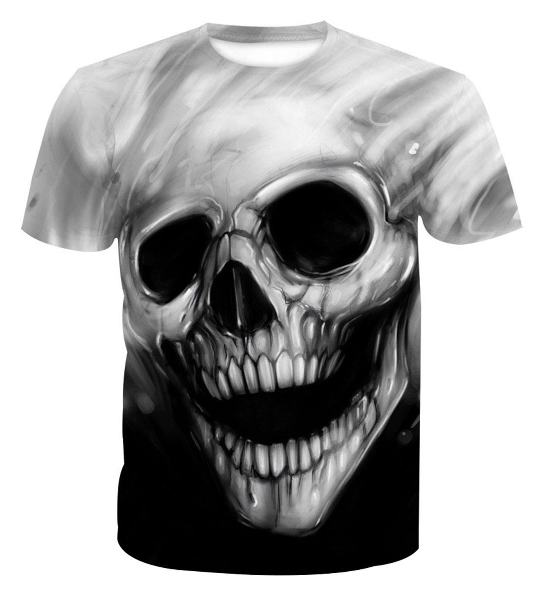 AIEOE Mens Womens 3D Printed Short Sleeve Summer Casual Cool T-Shirts Fashion Couple Top Tees Grey Skull 3XL