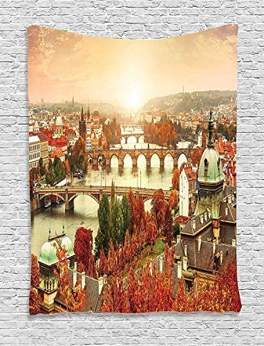 Ambesonne Wanderlust Tapestry, European Town River View Fall Autumn Season Tree Image Design Bridge, Wall Hanging for Bedroom Living Room Dorm Decor, 40 X 60 , Brown Scarlet